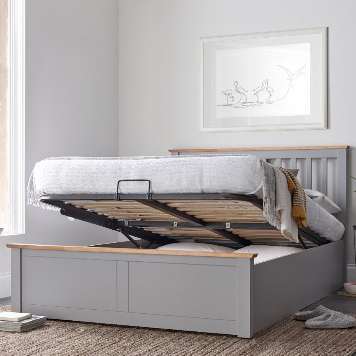 Awesome Malmo Grey Wooden Ottoman Bed Lamtechconsult Wood Chair Design Ideas Lamtechconsultcom