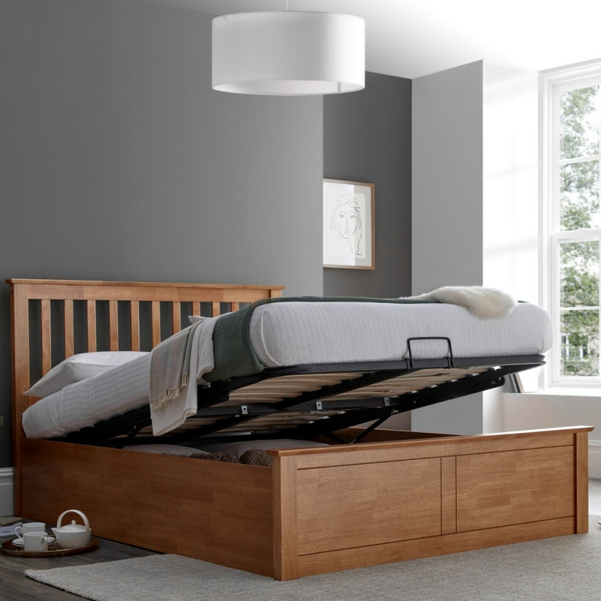 Stupendous Malmo Oak Wooden Ottoman Bed Lamtechconsult Wood Chair Design Ideas Lamtechconsultcom