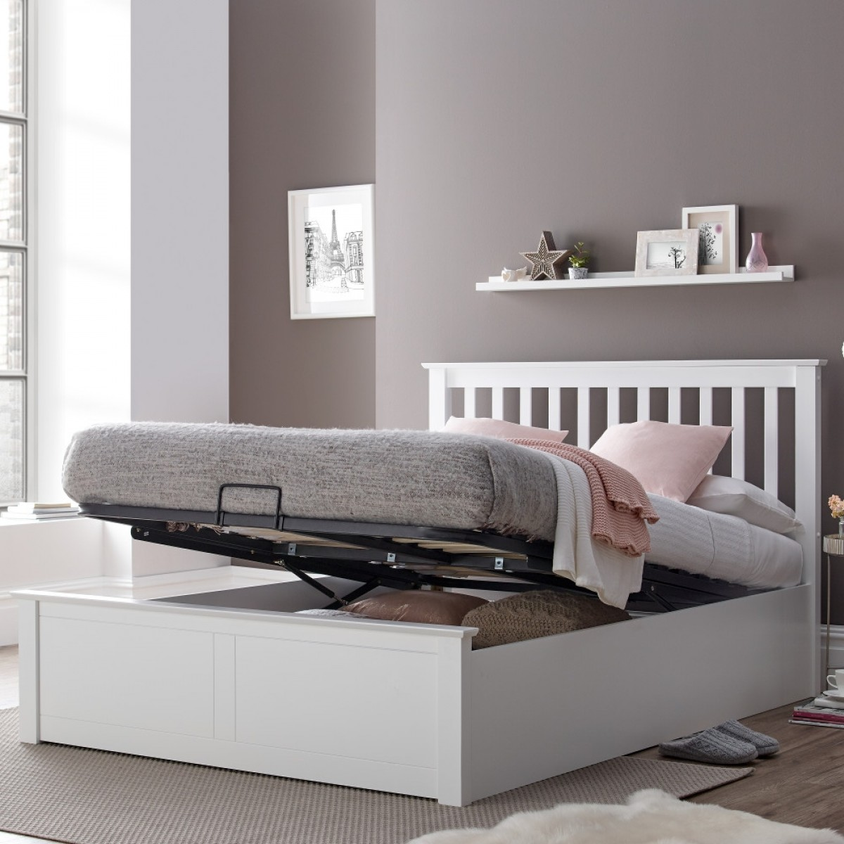 Malmo White Wooden Ottoman Bed