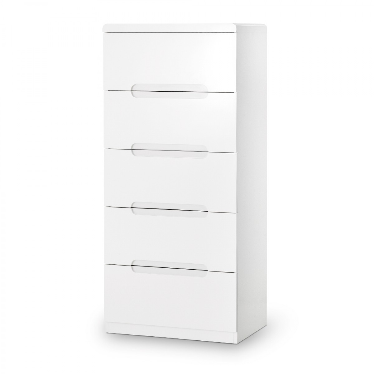 Manhattan Gloss White 5 Drawer Narrow Chest