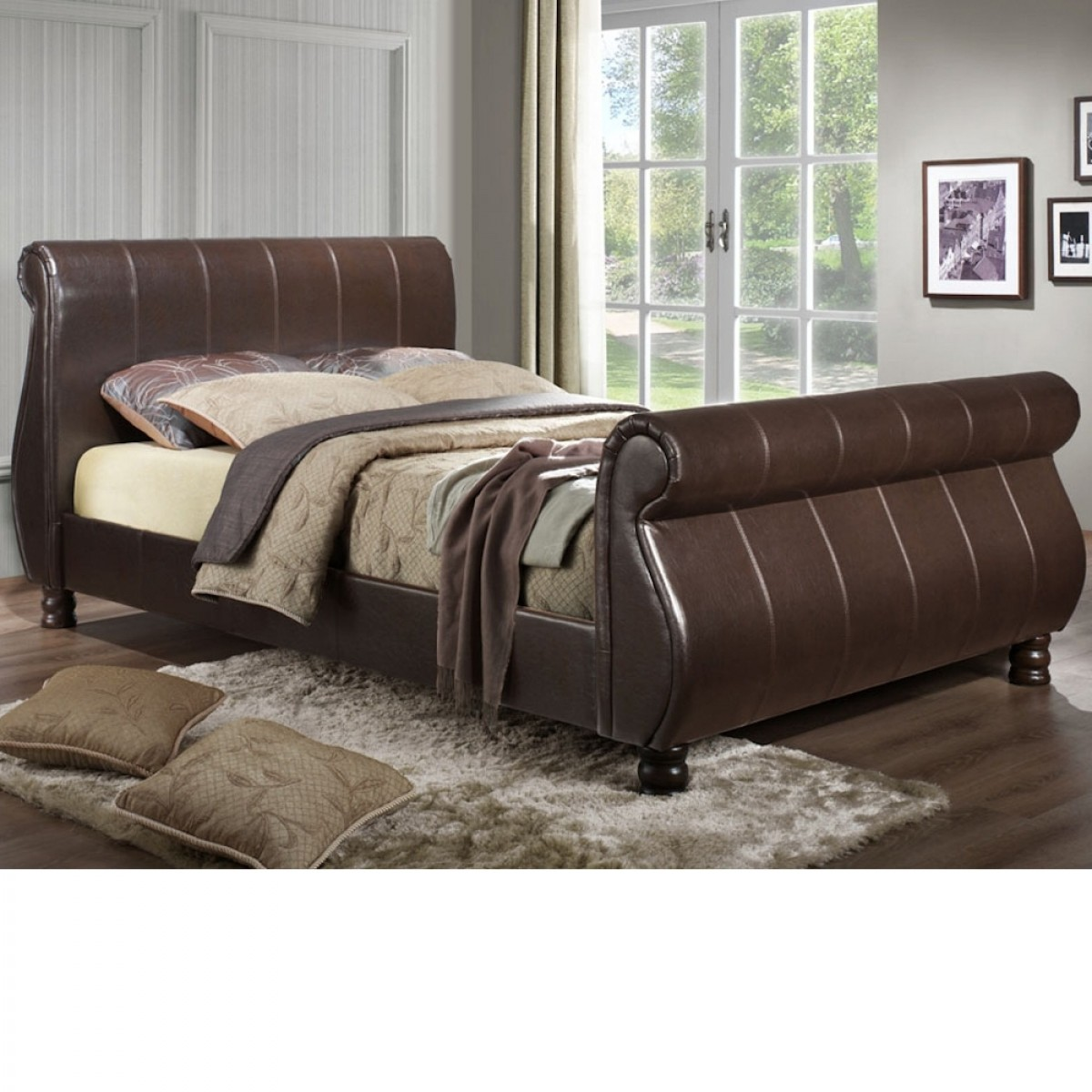 Marseille Brown Leather Scroll Sleigh Bed