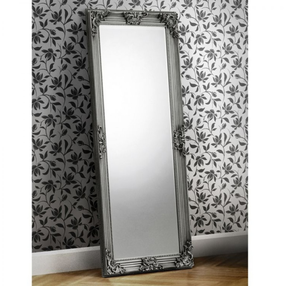 Rococo Pewter Lean-To Dress Mirror - 80 x 170 cm