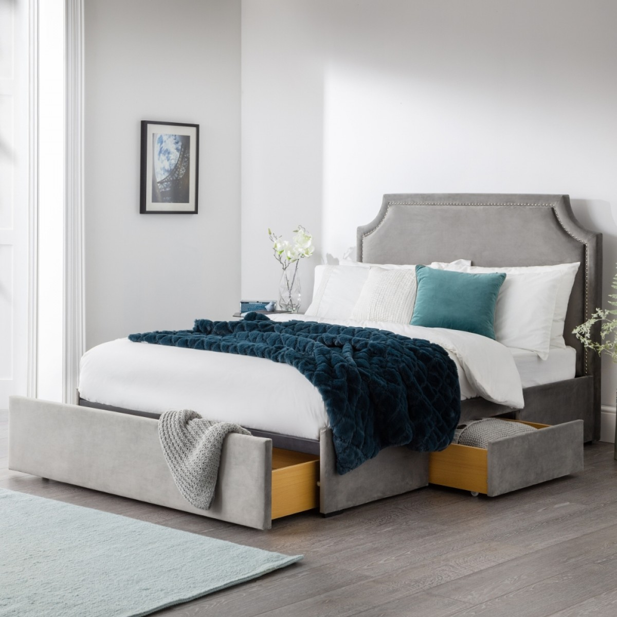 Mayfair Grey Velvet Fabric 3 Drawer Storage Bed