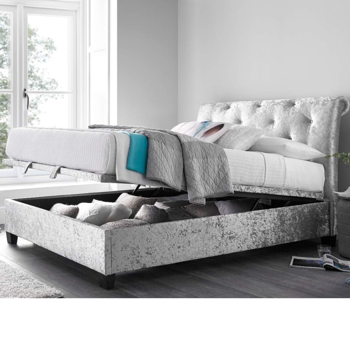 Mercury Silver Crushed Velvet Ottoman Scroll Bed