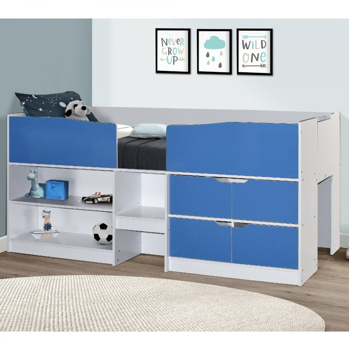 Merlin Blue and White Wooden Mid Sleeper Cabin Storage Bed