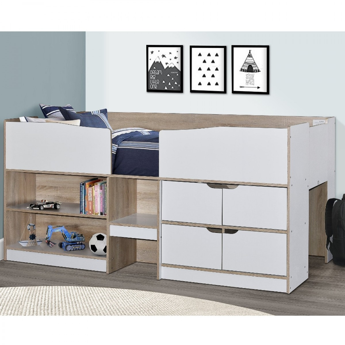 Merlin White and Oak Wooden Mid Sleeper Cabin Storage Bed