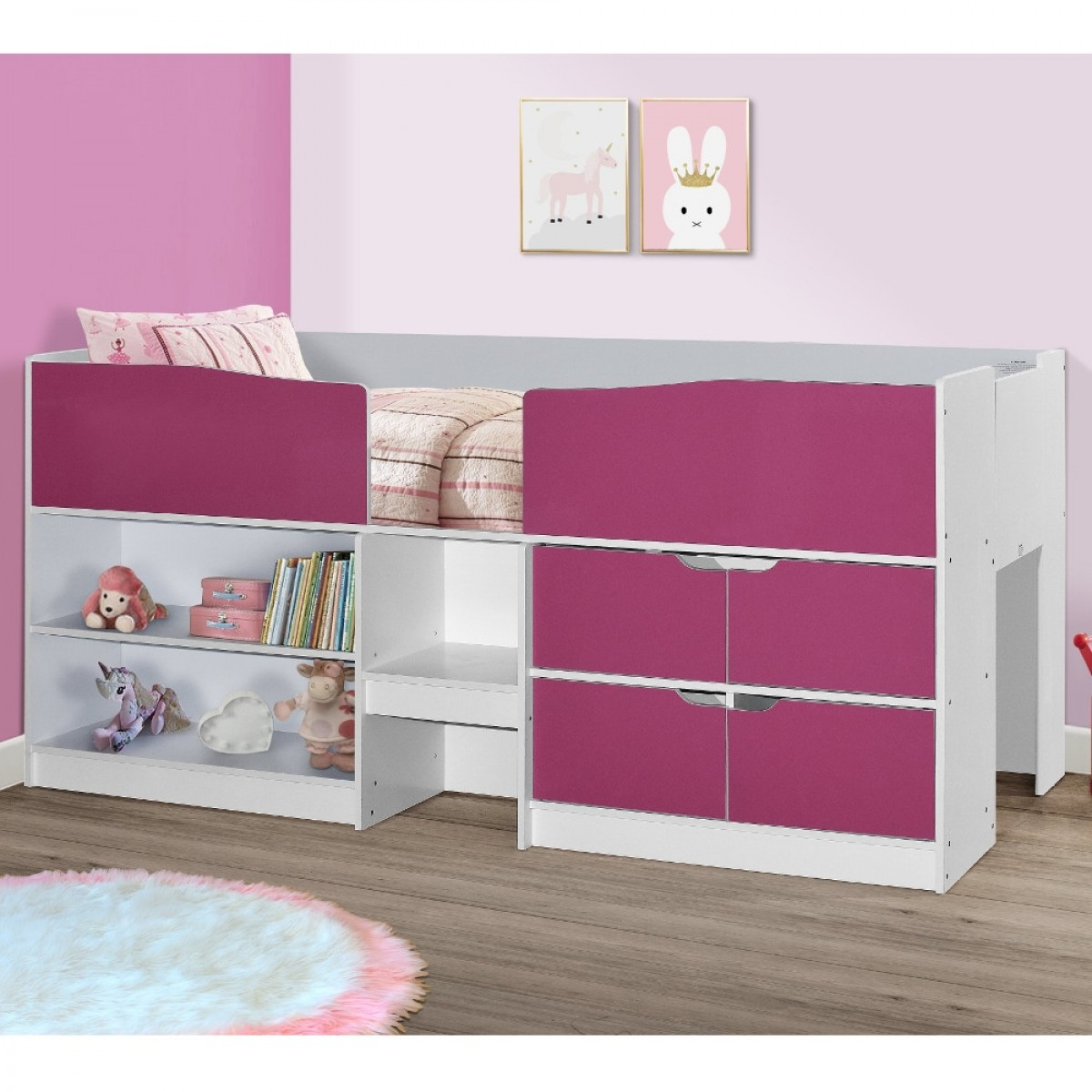 Merlin Pink and White Wooden Mid Sleeper Cabin Storage Bed