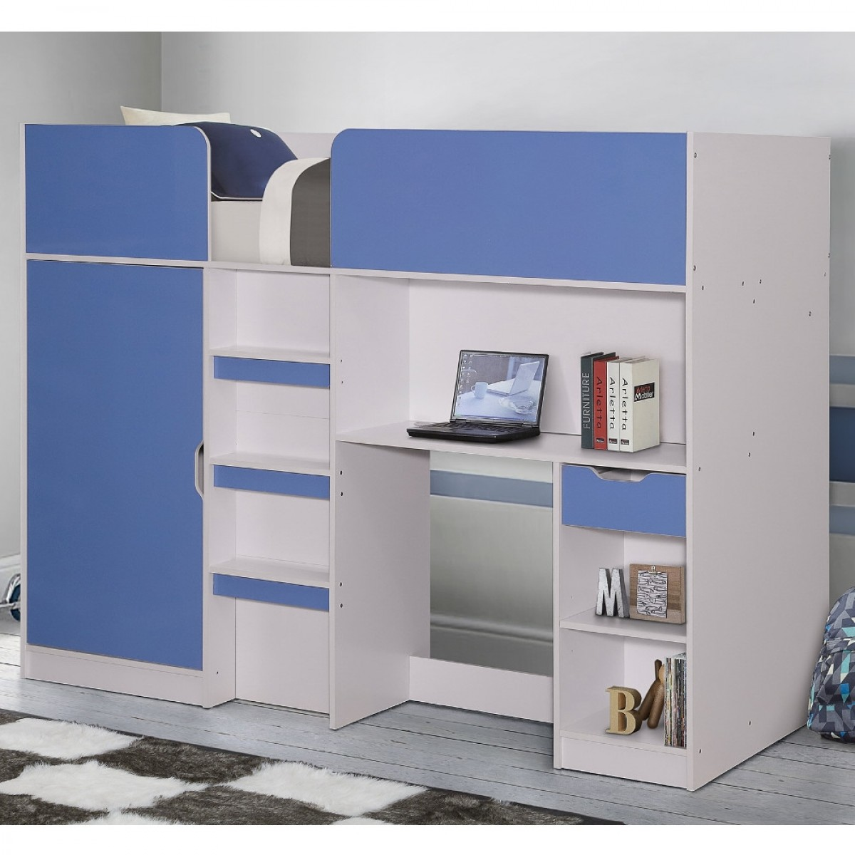 Merlin Blue and White Wooden High Sleeper Storage Bed