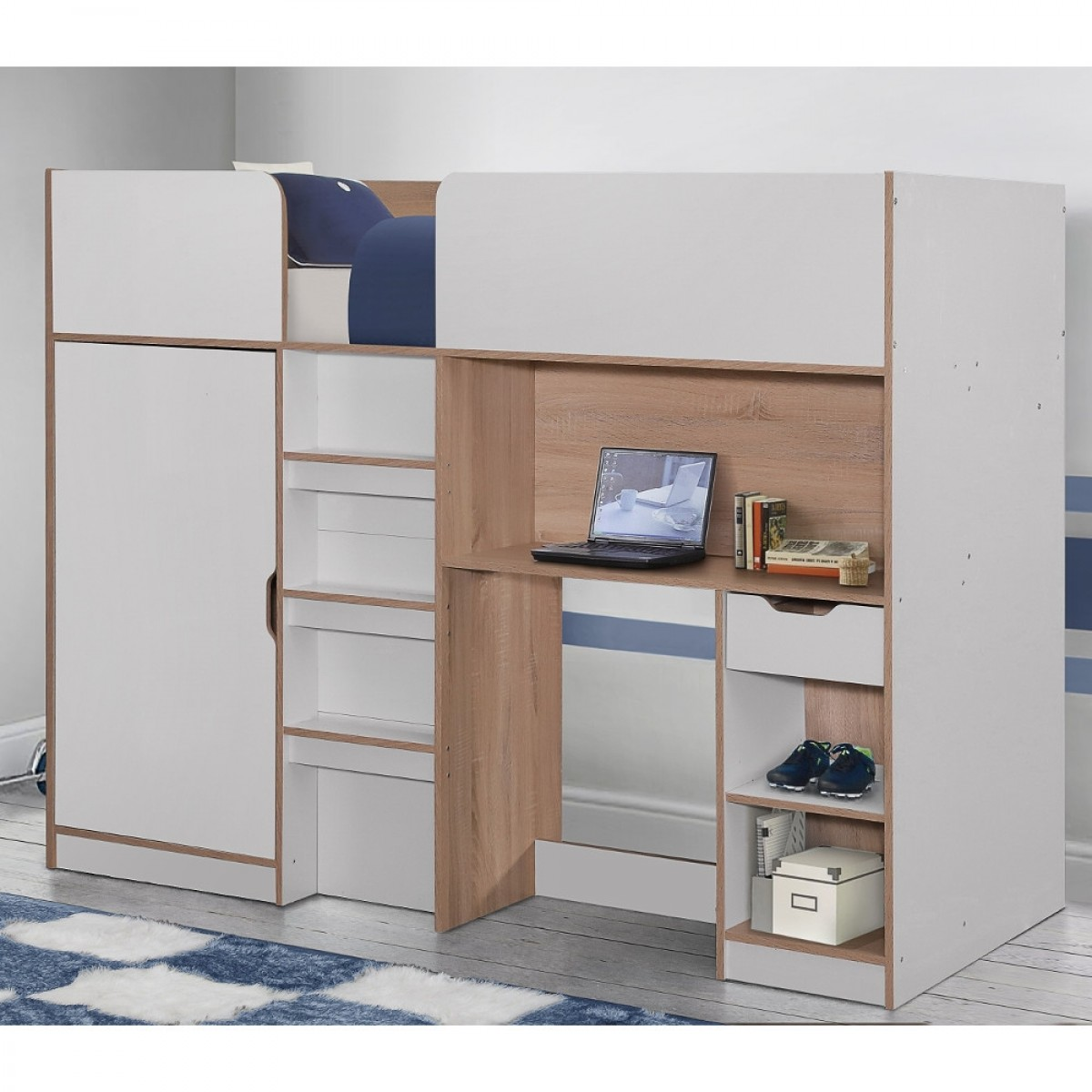 Merlin White And Oak Wooden High Sleeper Storage Bed