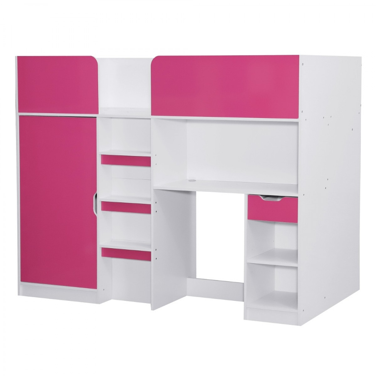 Merlin Pink and White Wooden High Sleeper Storage Bed