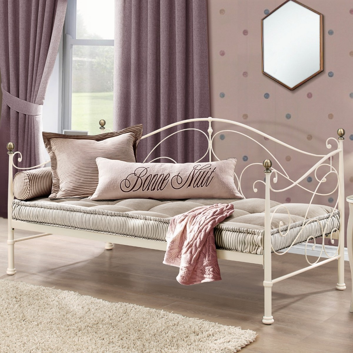 Milano Cream Metal Daybed