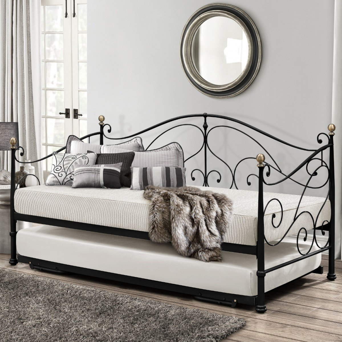 Milano Black Metal Guest Day Bed and Trundle - 3ft Single