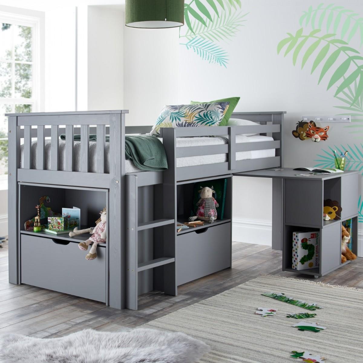 Milo Grey Wooden Mid Sleeper Kids Bed