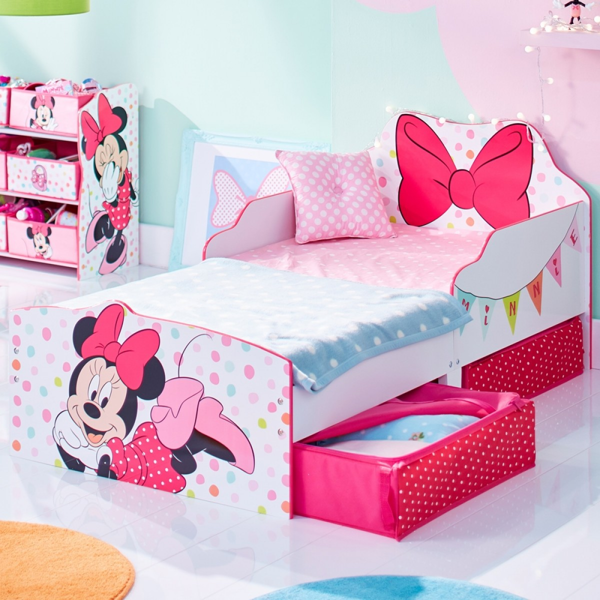Minnie Mouse Bow Toddler 2 Drawer Storage Bed