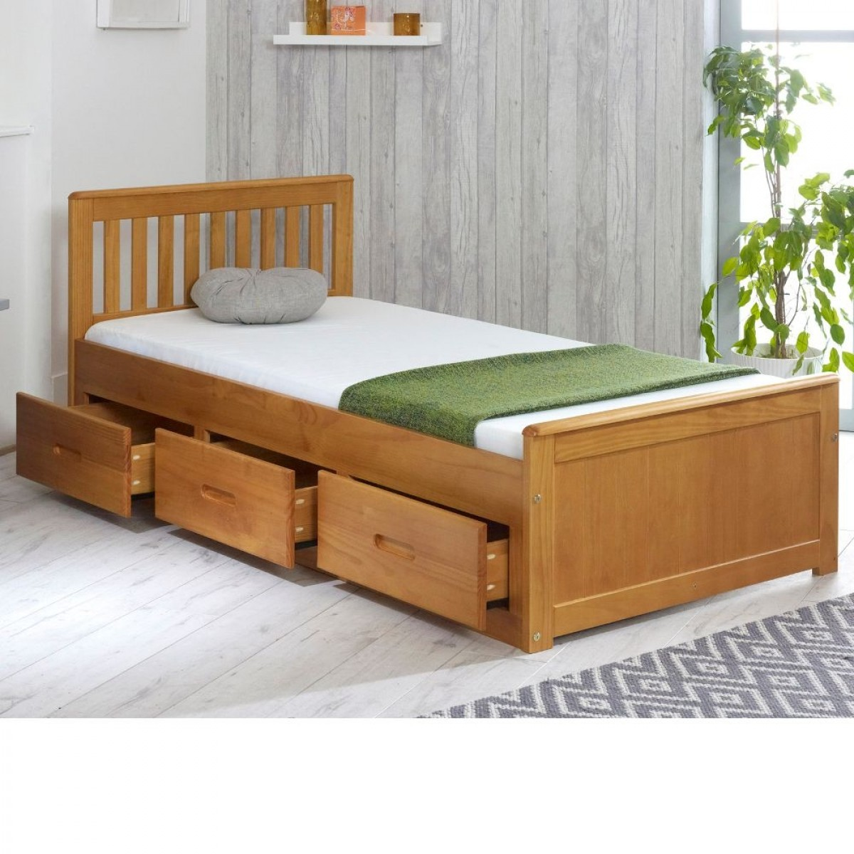 Mission Honey Pine Wooden Storage Bed
