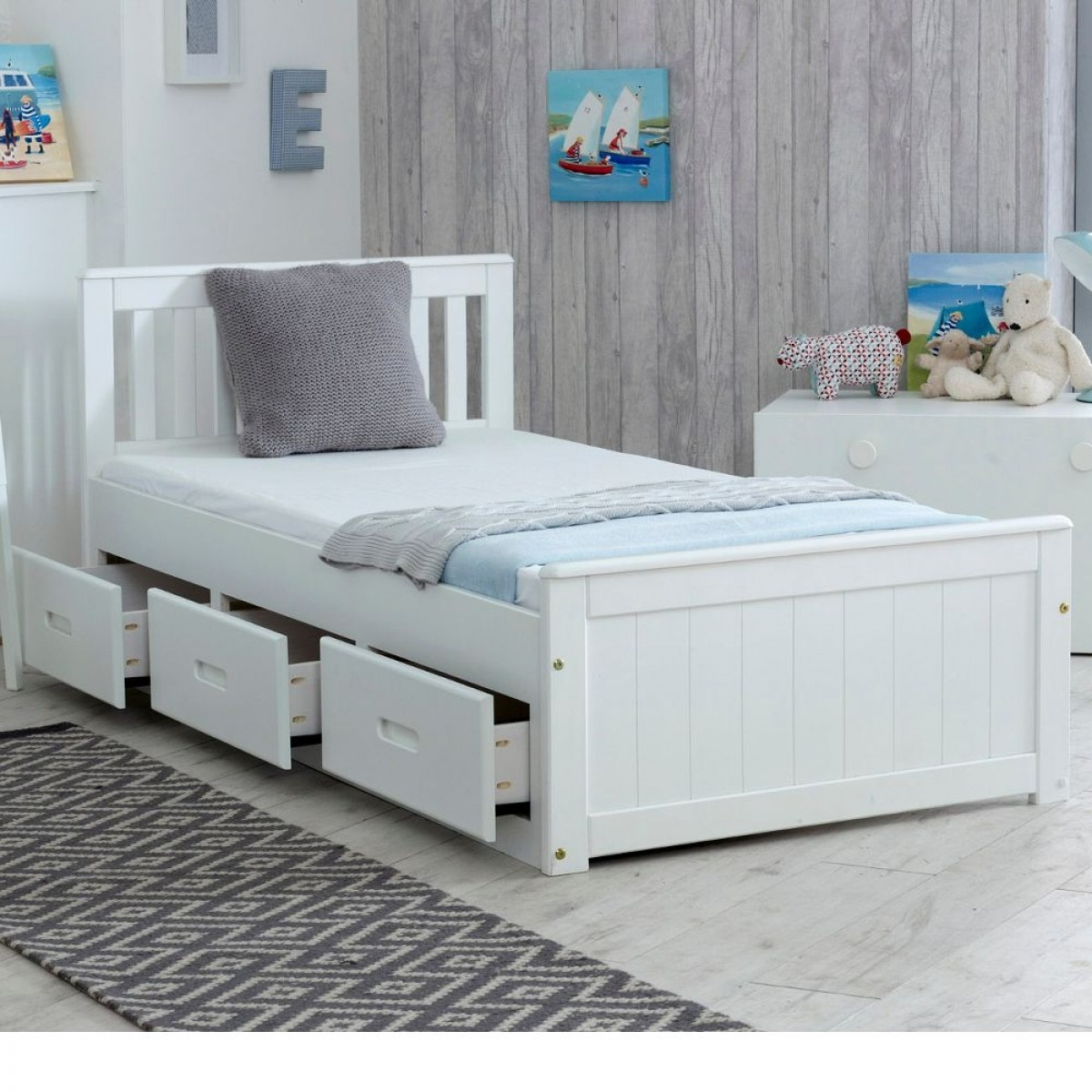 Mission White Wooden Storage Bed