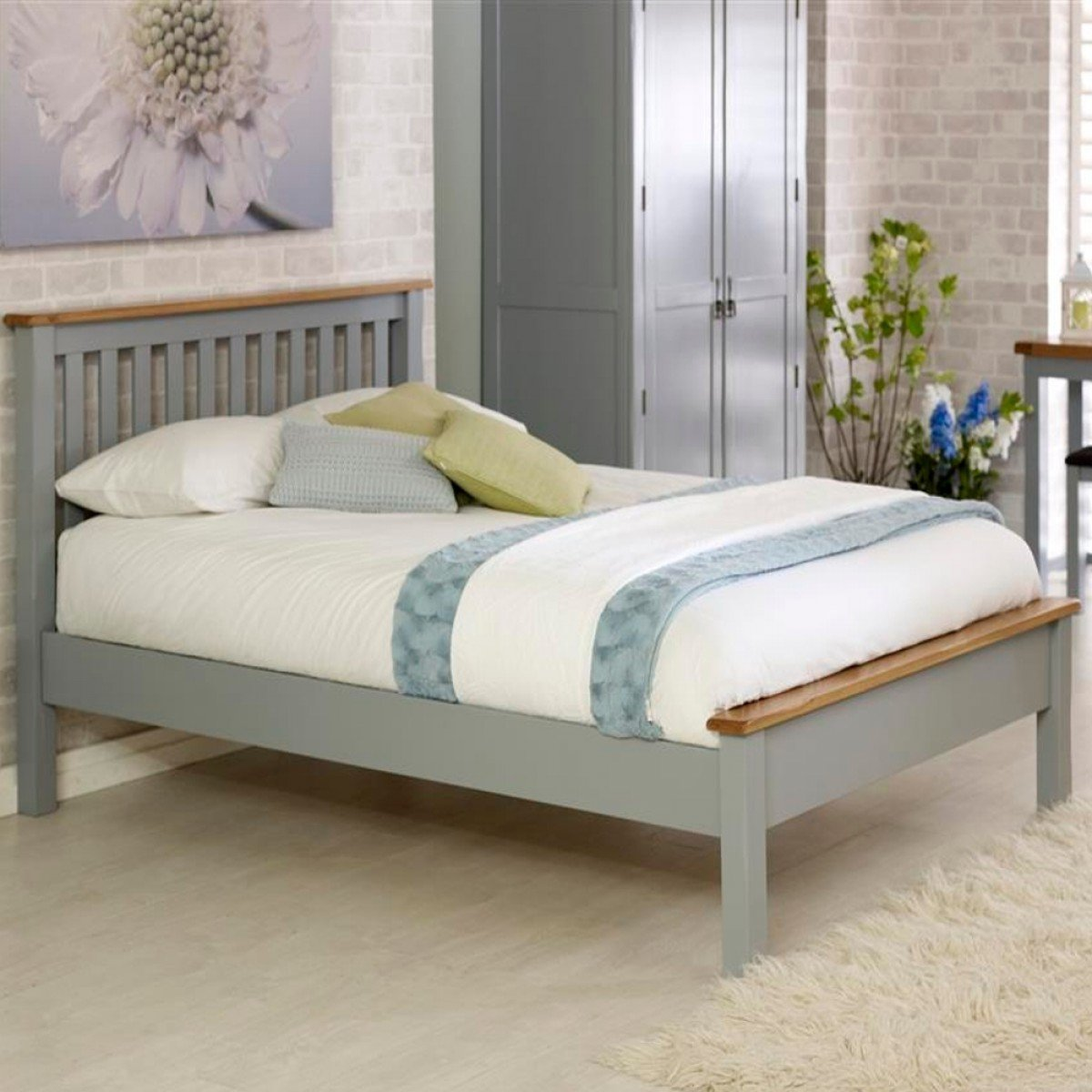 New Hampshire Grey and Oak Low Foot End Wooden Bed