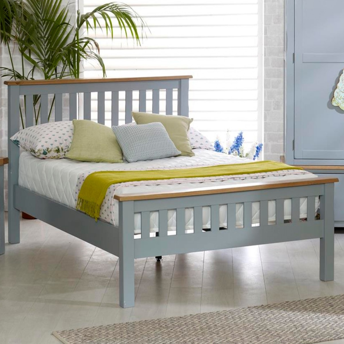 New Hampshire Grey and Oak High Foot End Wooden Bed