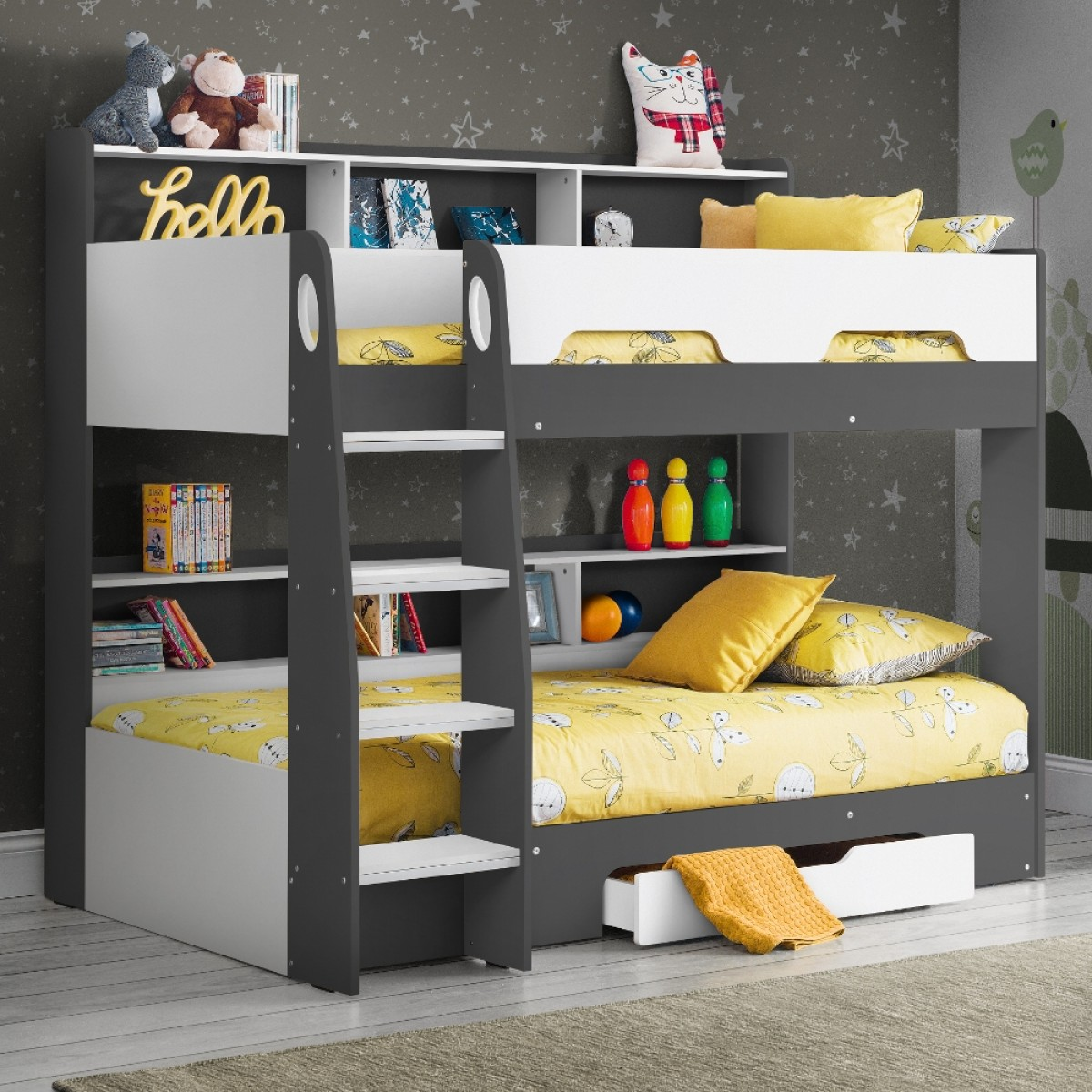 Orion Grey and White Wooden Storage Bunk Bed