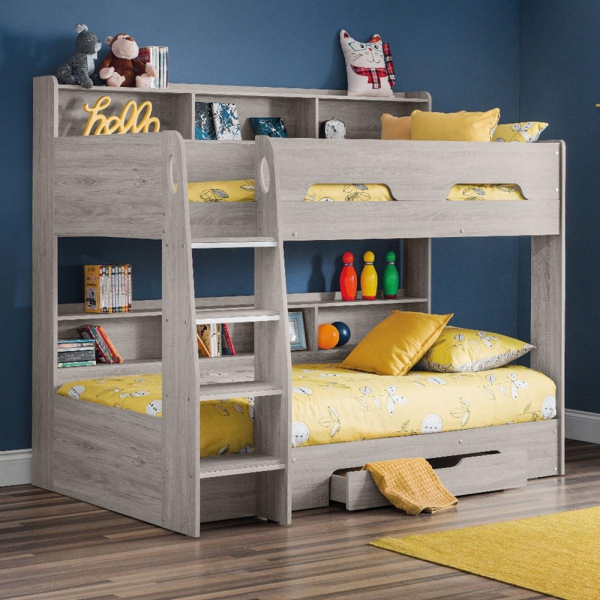 Orion Grey Oak Wooden Storage Bunk Bed Frame