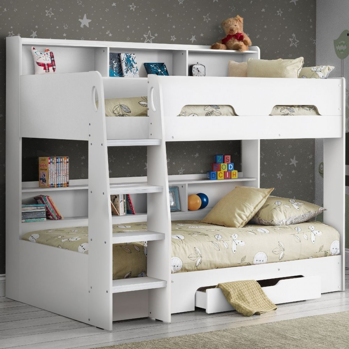 Orion White Wooden Storage Bunk Bed