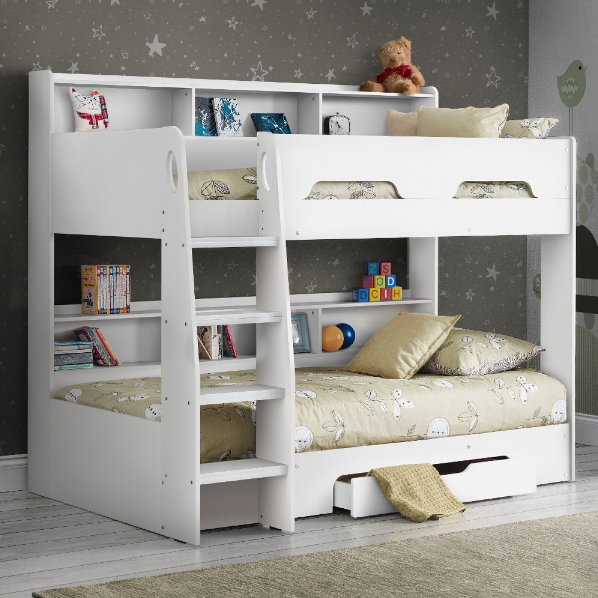 Orion White Wooden Storage Bunk Bed