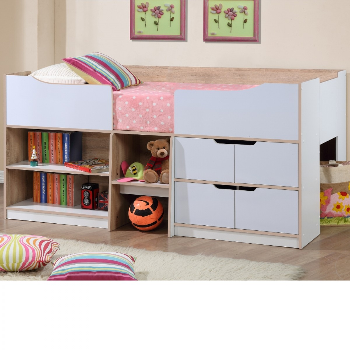 Paddington Oak and White Wooden Cabin Bed