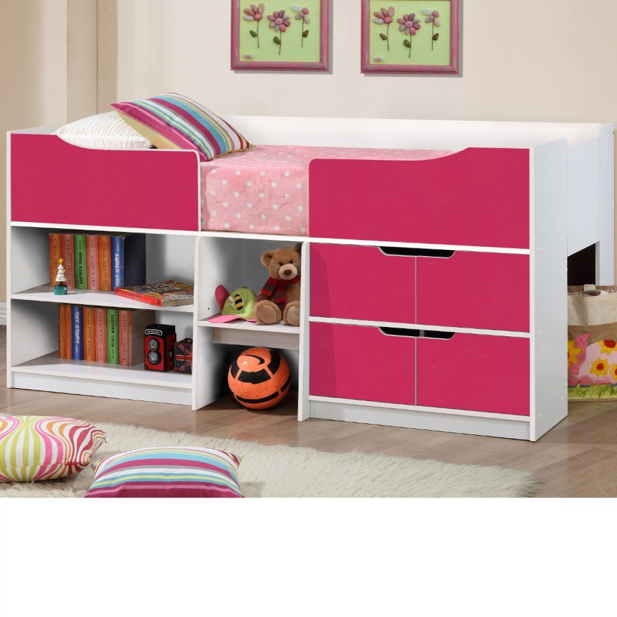 Paddington Pink and White Wooden Cabin Bed