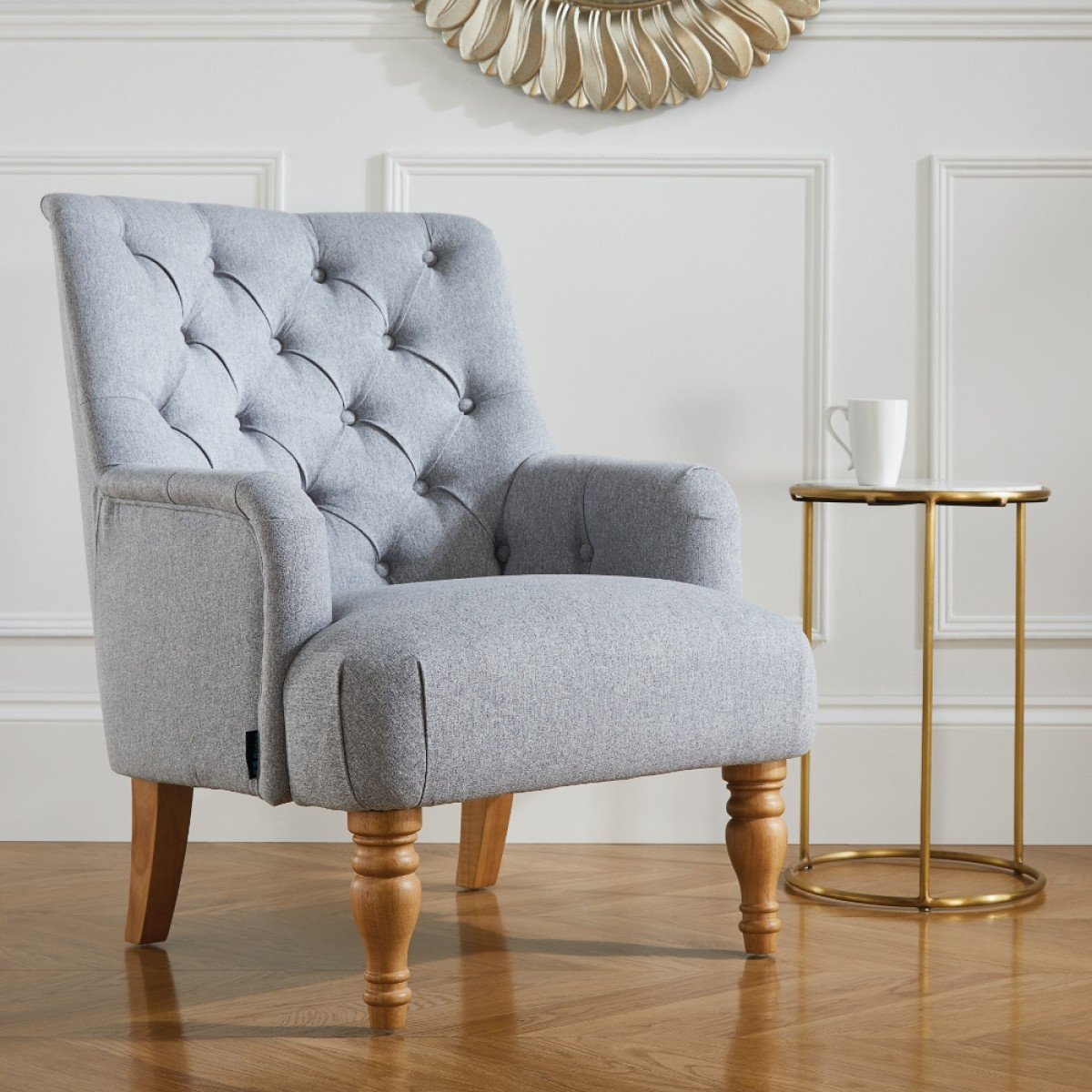 Padstow Grey Fabric Armchair