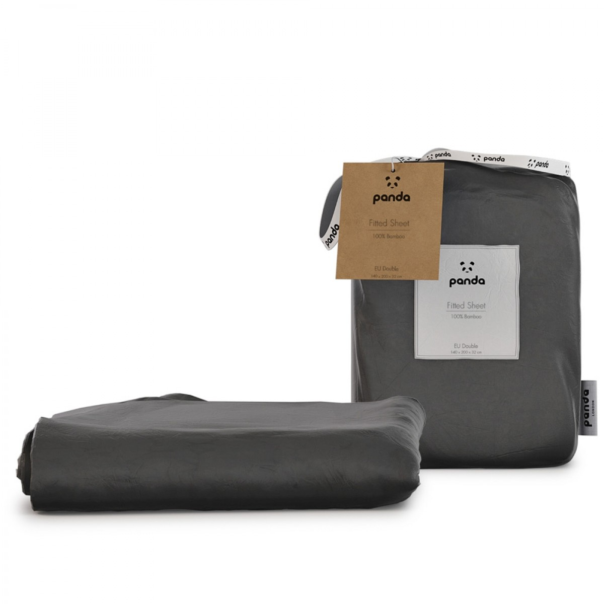 Panda 100% Bamboo Fitted Sheet - Urban Grey