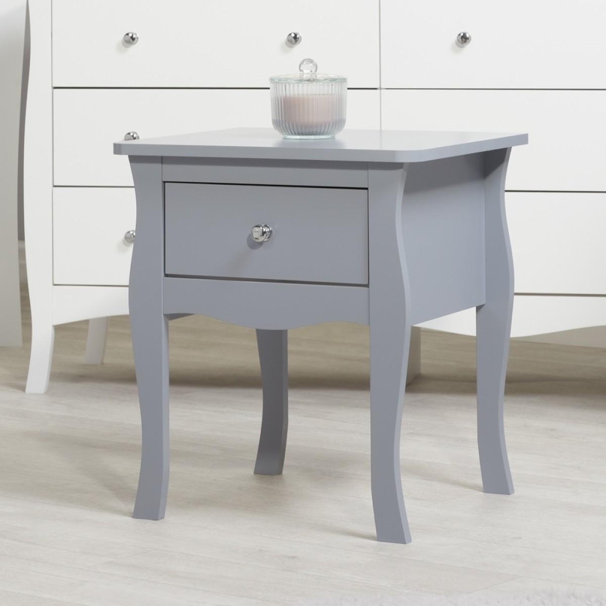 Paris Grey Wooden 1 Drawer Bedside Table