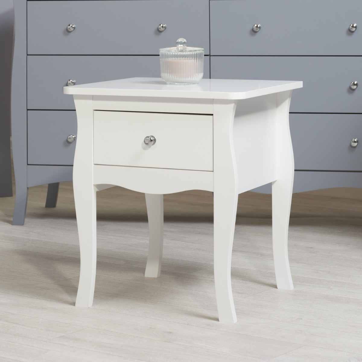 Paris White Wooden 1 Drawer Bedside Table