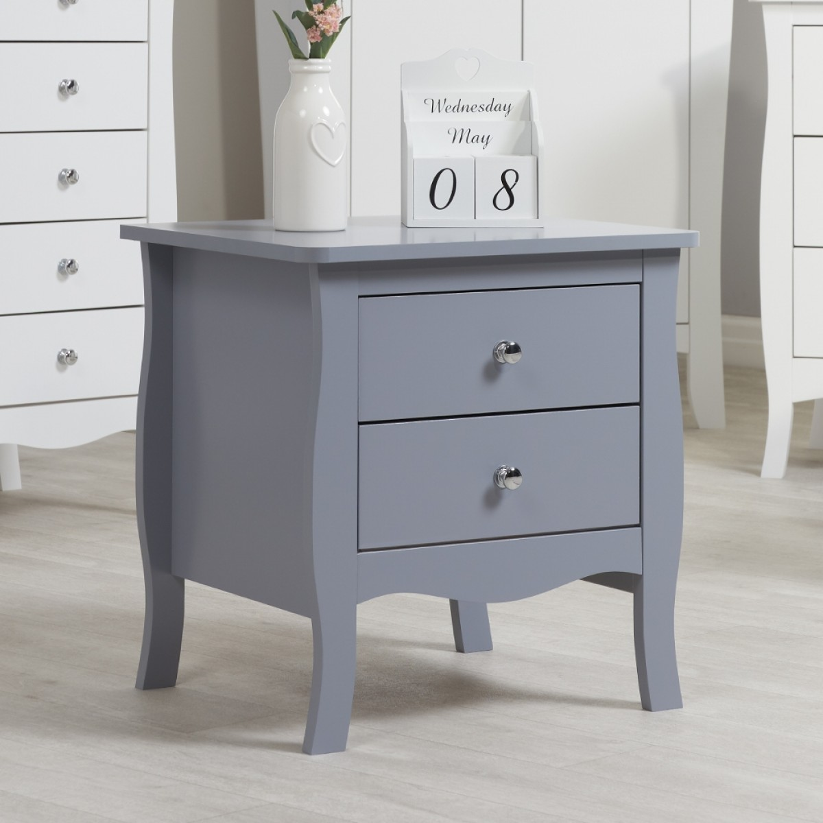 Paris Grey Wooden 2 Drawer Bedside Table