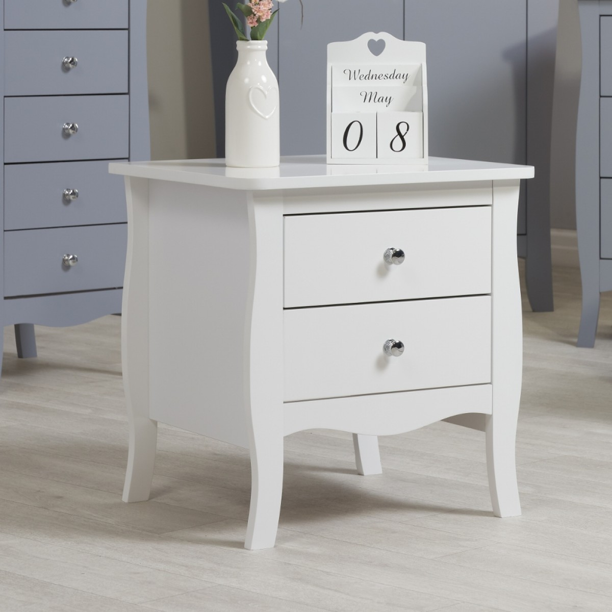 Paris White Wooden 2 Drawer Bedside Table