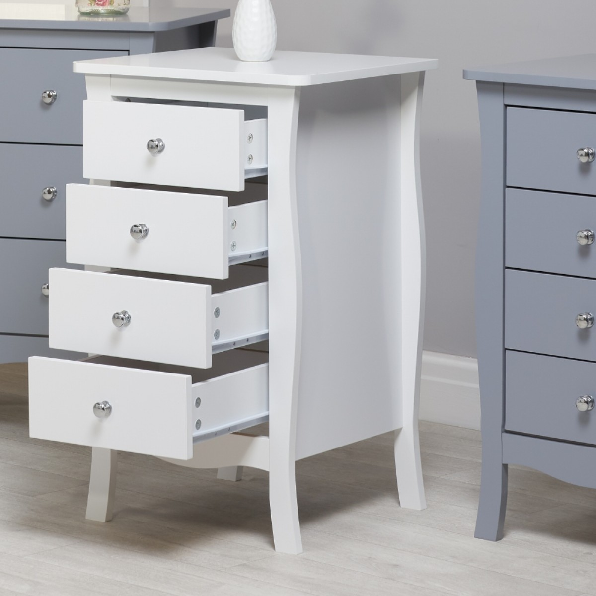 Paris White Wooden 4 Drawer Chest