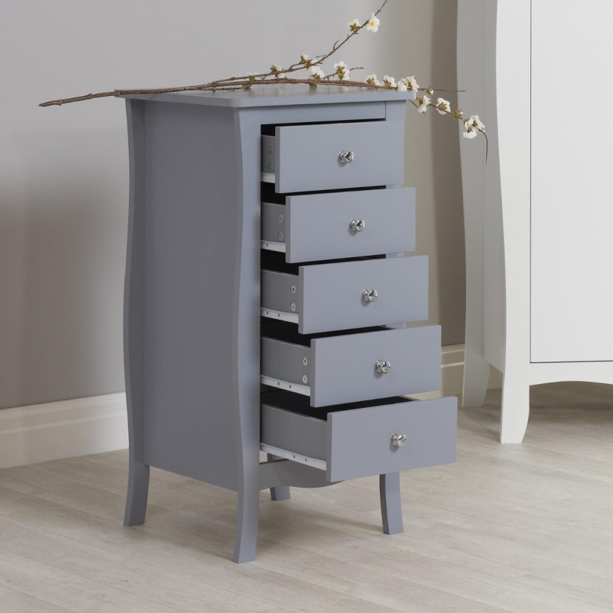 Paris Grey Wooden 5 Drawer Chest