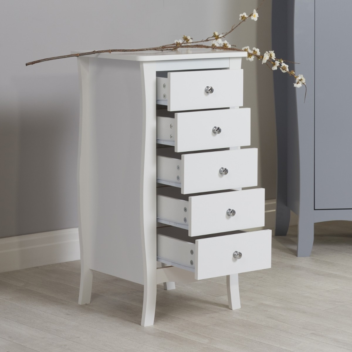 Paris White Wooden 5 Drawer Chest