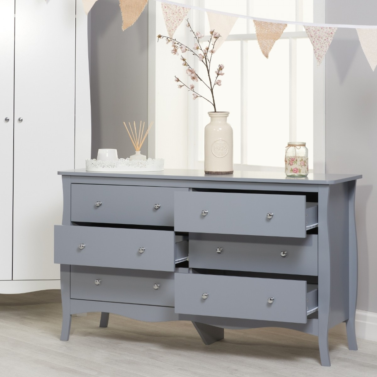 Paris Grey Wooden 6 Drawer Chest