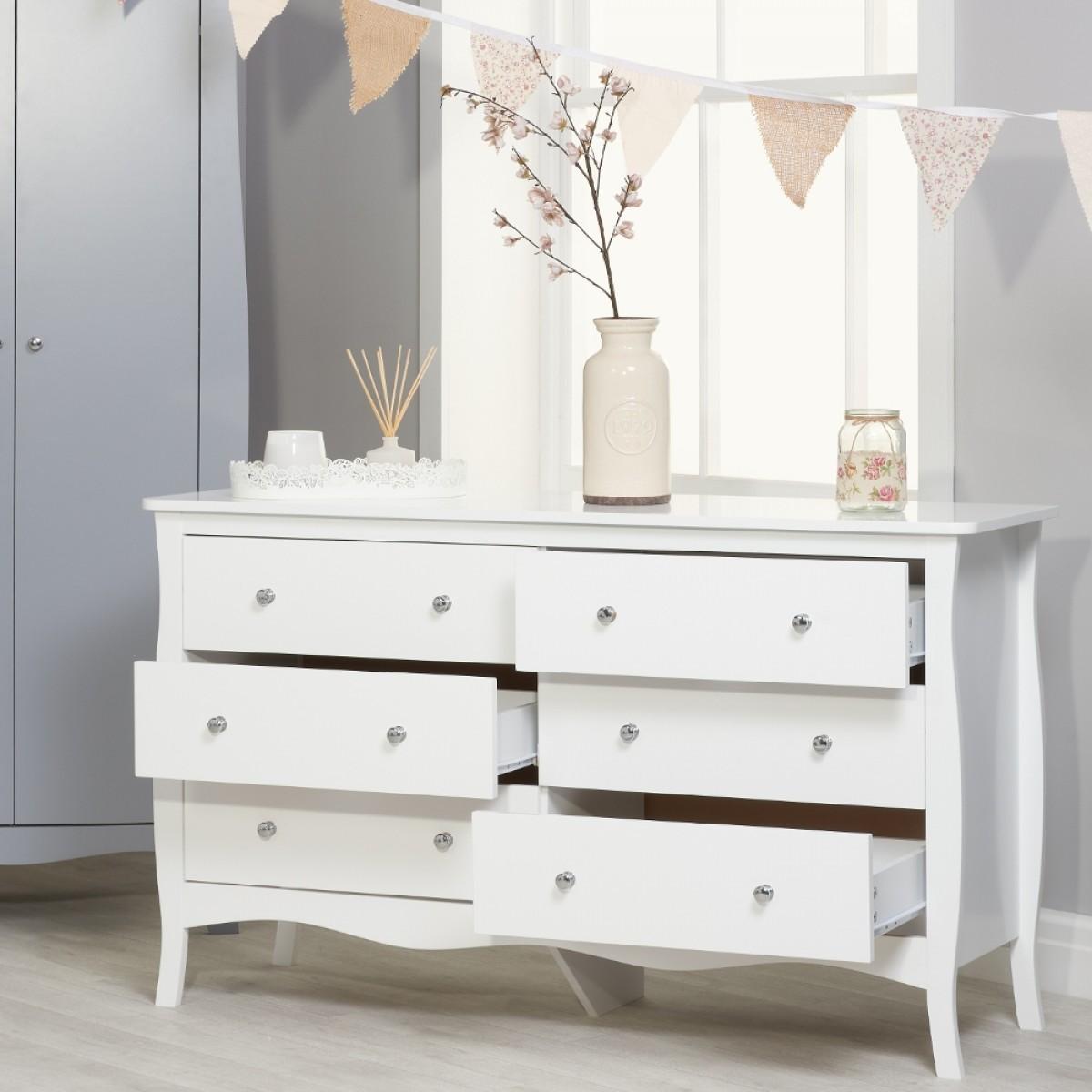 Paris White Wooden 6 Drawer Chest