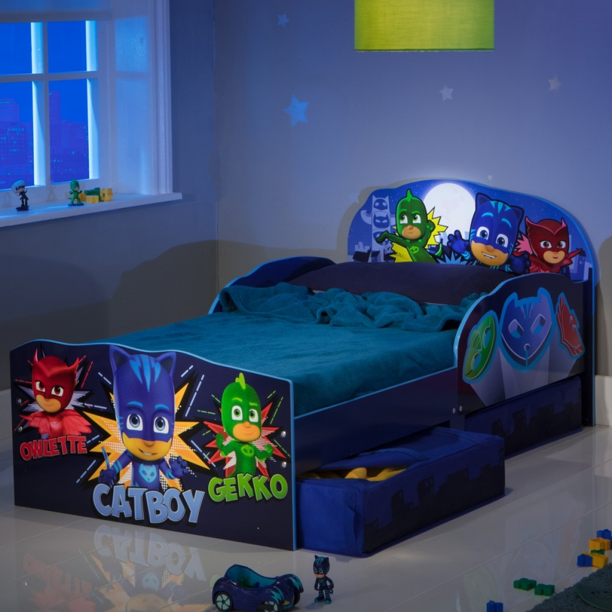PJ Masks Toddler 2 Drawer Storage Bed with Glow in the Dark Moon