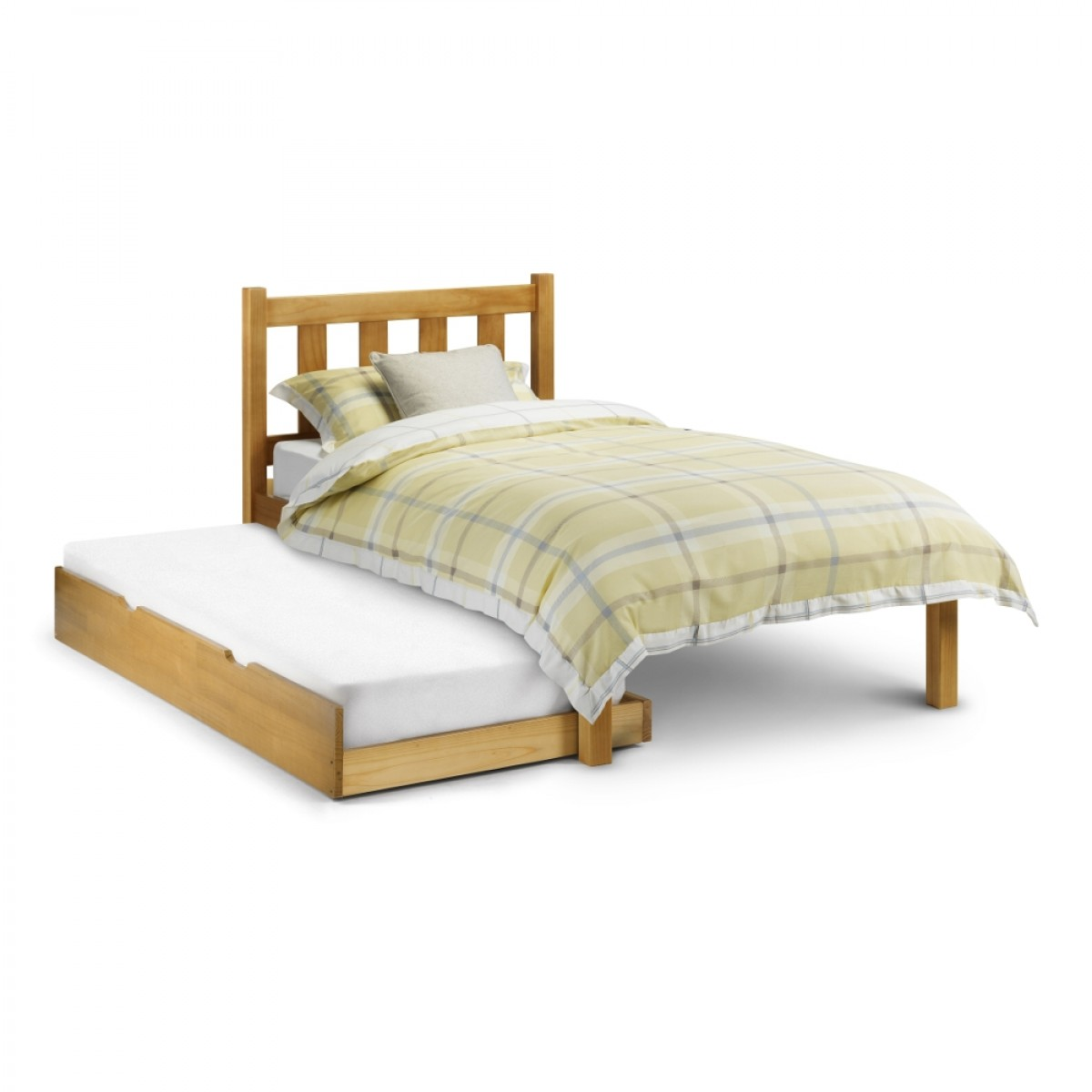 Poppy Antique Solid Pine Wooden Guest Bed and Trundle - 3ft Single