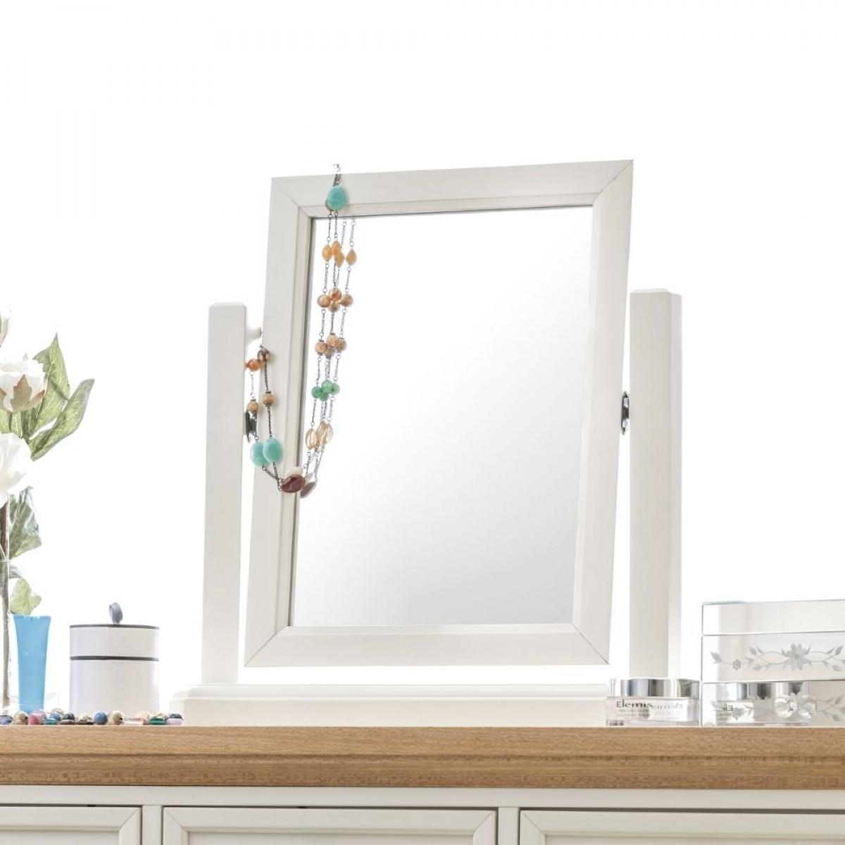 Portland Stone White and Oak Dressing Table Mirror - 53 x 54 cm