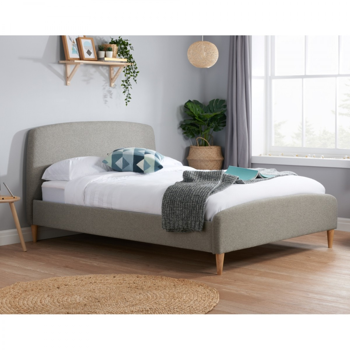 Quebec Grey Fabric Bed