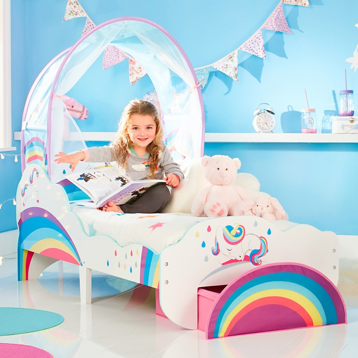 - Unicorn And Rainbow Canopy Toddler Bed