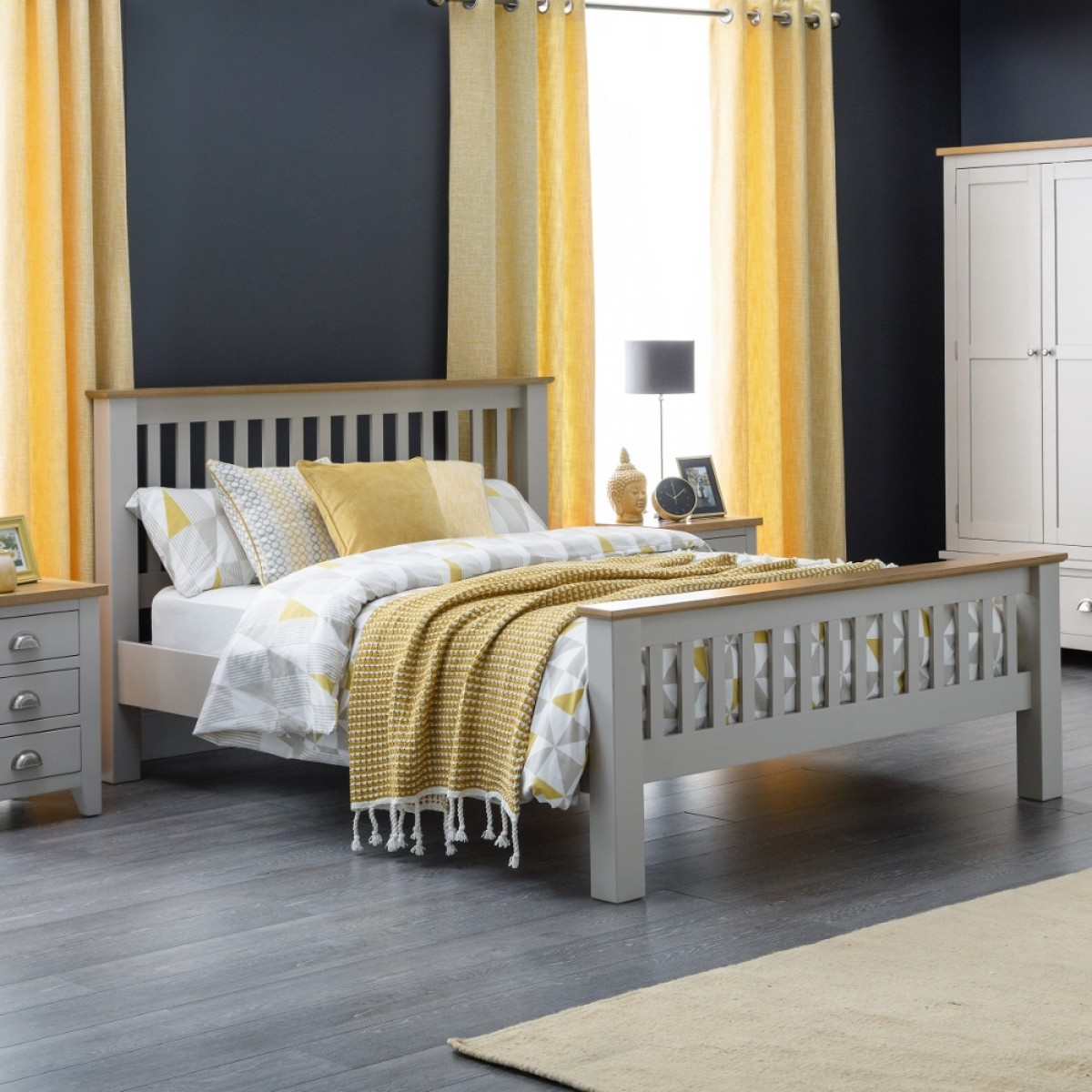 Richmond Grey and Oak Wooden Bed