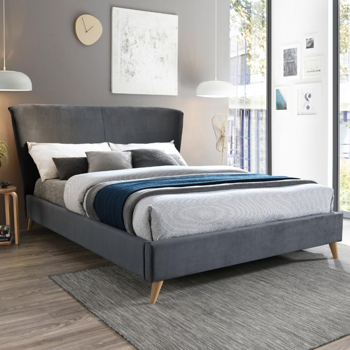 Rowan Grey Velvet Fabric Bed
