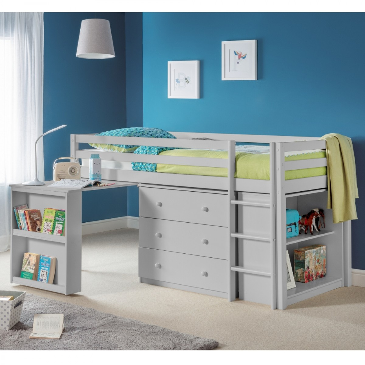 Roxy Dove Grey Wooden Mid Sleeper