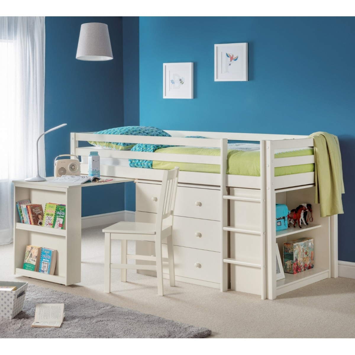 Roxy Stone White Wooden Mid Sleeper