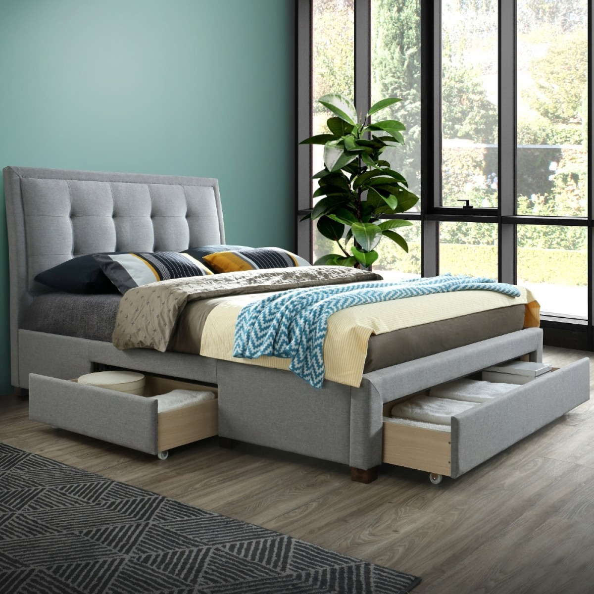 Shelby Grey Fabric 3 Drawer Storage Bed