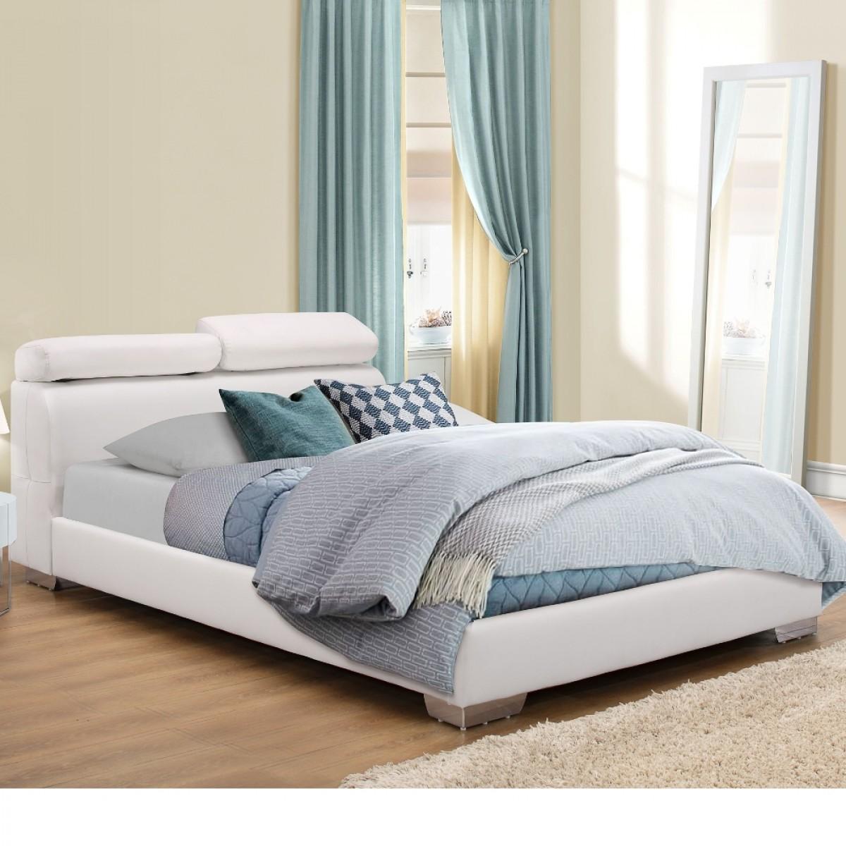 Signature White Leather Bed Adjustable Headboard